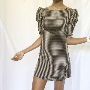 Puffed Sleeve Striped Mini Dress - Size 2 - XS
